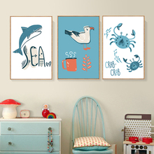 Cute Abstract Cartoon Shark Bird Crab Sea Canvas Art Painting Print Poster Picture Wall Childrens Room Home Decoration A2 A3 A4