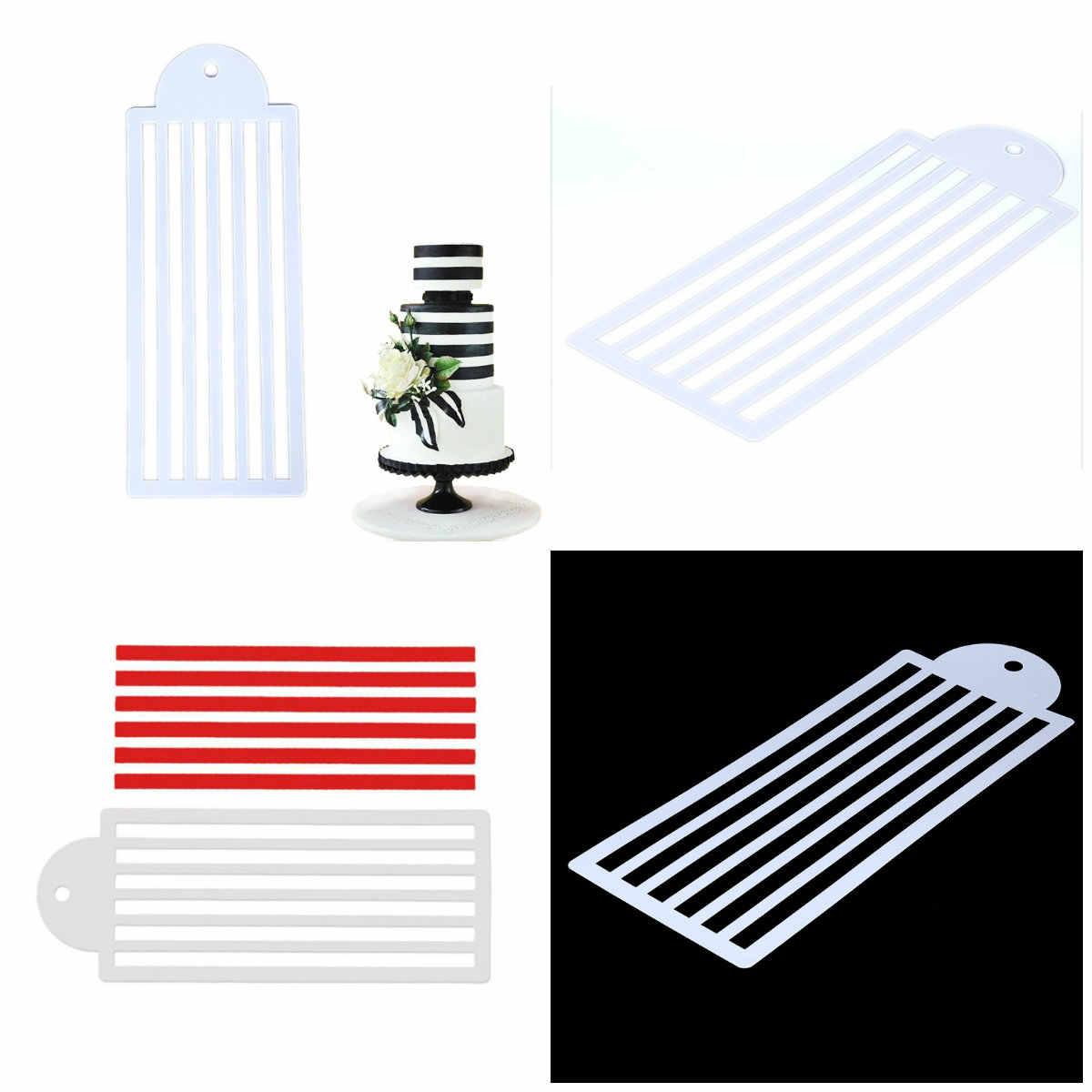Bottle Fondant Bakeware Tools Stripe Lace Stencil Wedding Cake Design Plastic Template Mold Painting Stencil Decorating
