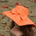 Orange  Linen Summer Womens Kentucky Derby Wide Brim Sun Hat Wedding Church Sea Beach