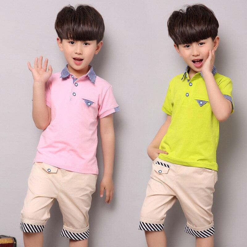 2017 új Gyermekruházat Póló + Rövidnadrág Nyári ruha fiú ruházat készlet divat stílus gyerekek 2Pcs 5 6 8 9 10 12 év