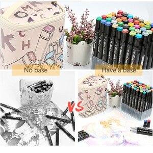 Image 2 - Rysowanie malowanie markery Pen Art podwójna końcówka na bazie alkoholu atrament dla artysty Manga na bazie Marker pędzel zestaw papeterii zakreślacz