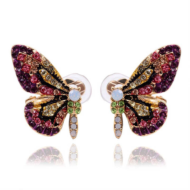 Mieehoo 100 store Exclusive original new color full glass butterfly wing ear nail with simple temperament earrings and earrings