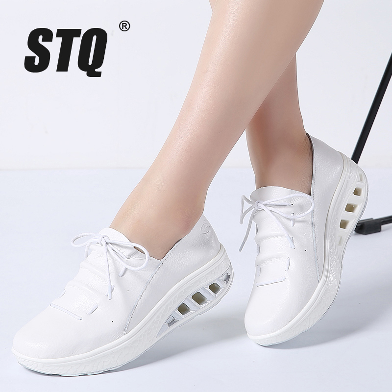 STQ Women Flats Shoes Creepers Platform 7688 Genuine-Leather Ladies Sneakers Lace-Up