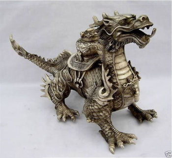 Shipping Huge Tibetan Silver luck Dragon Statue tools wedding Decoration Brass BRASS фото