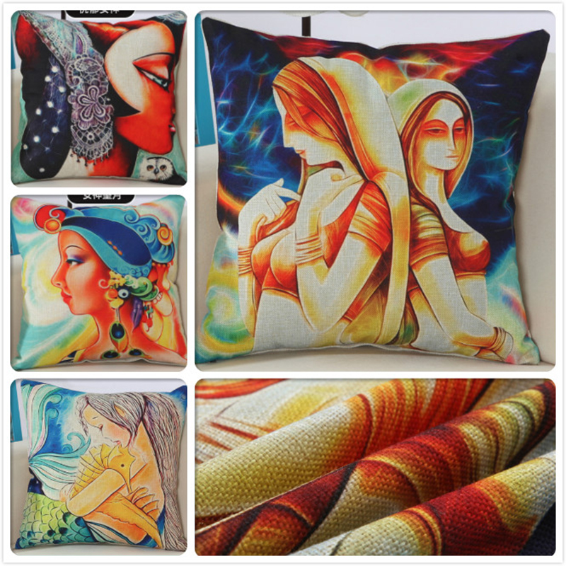 Cartoon Girl Goddess Print Cushion Cover Home Office Decor 18inch Big Pillowcase Sofa Car Beds Chair Seat Back Throw Pillow Case