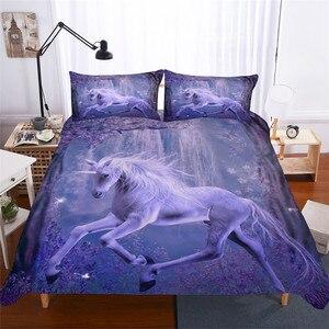 Image 1 - طقم سرير ثلاثية الأبعاد لحاف مطبوع طقم سرير يونيكورن المنسوجات المنزلية للكبار نابض بالحياة المفارش مع المخدة # DJS08