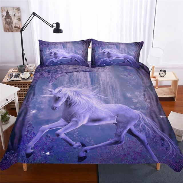 طقم سرير ثلاثية الأبعاد لحاف مطبوع طقم سرير يونيكورن المنسوجات المنزلية للكبار نابض بالحياة المفارش مع المخدة # DJS08