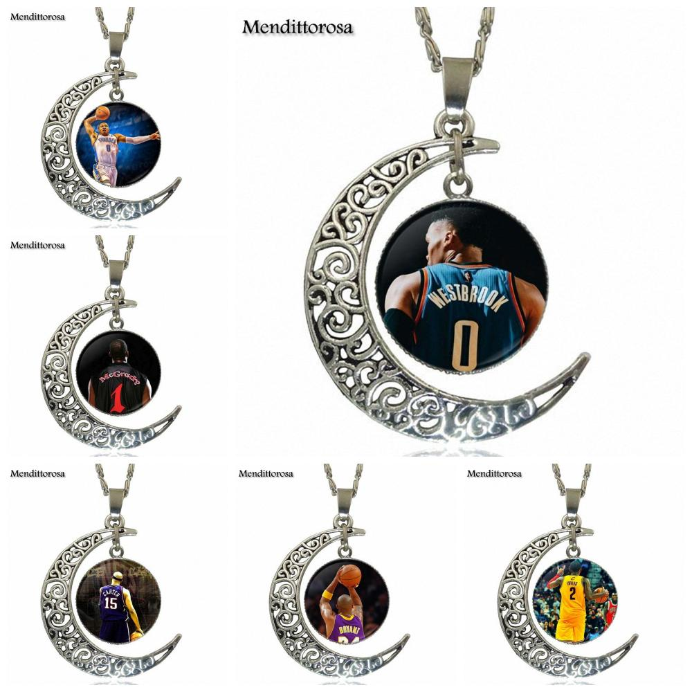 Mendittorosa For Schoolgirl Maxi Russell Westbrook Vince Carter Kerry Fashion Jewelry Vintage Glass Necklace With Crescent Moon