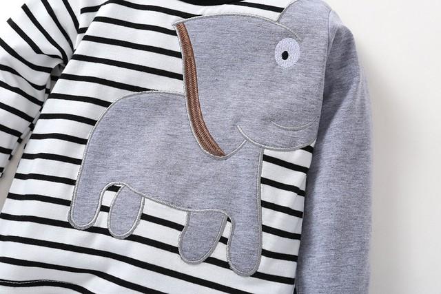 MUQGEW Newborn Clothes Winter  Baby Boys Girls Clothes Elephant Striped Print T-Shirt Tops Set Casaul Clothes roupa de bebe