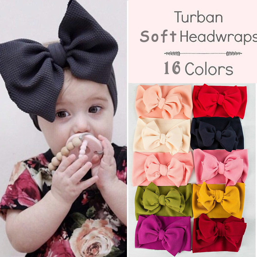 6/'/' Big Baby Girls Hairband Kids Bow Soft knot Flower Hair Elastic Band Headband