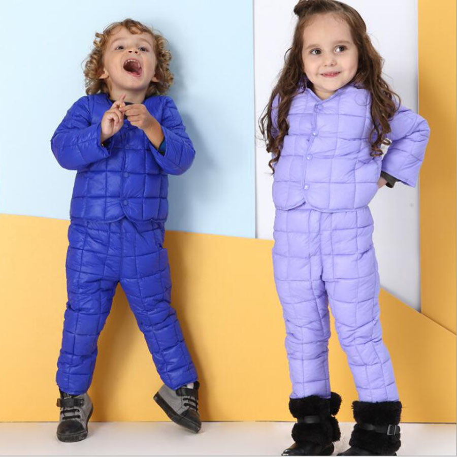 Children's Clothing Girls Down Jacket Boys Clothing Suits Winter Jacket + Pants Children's Cotton Suits Winter Baby Kids Clothes girls clothing down
