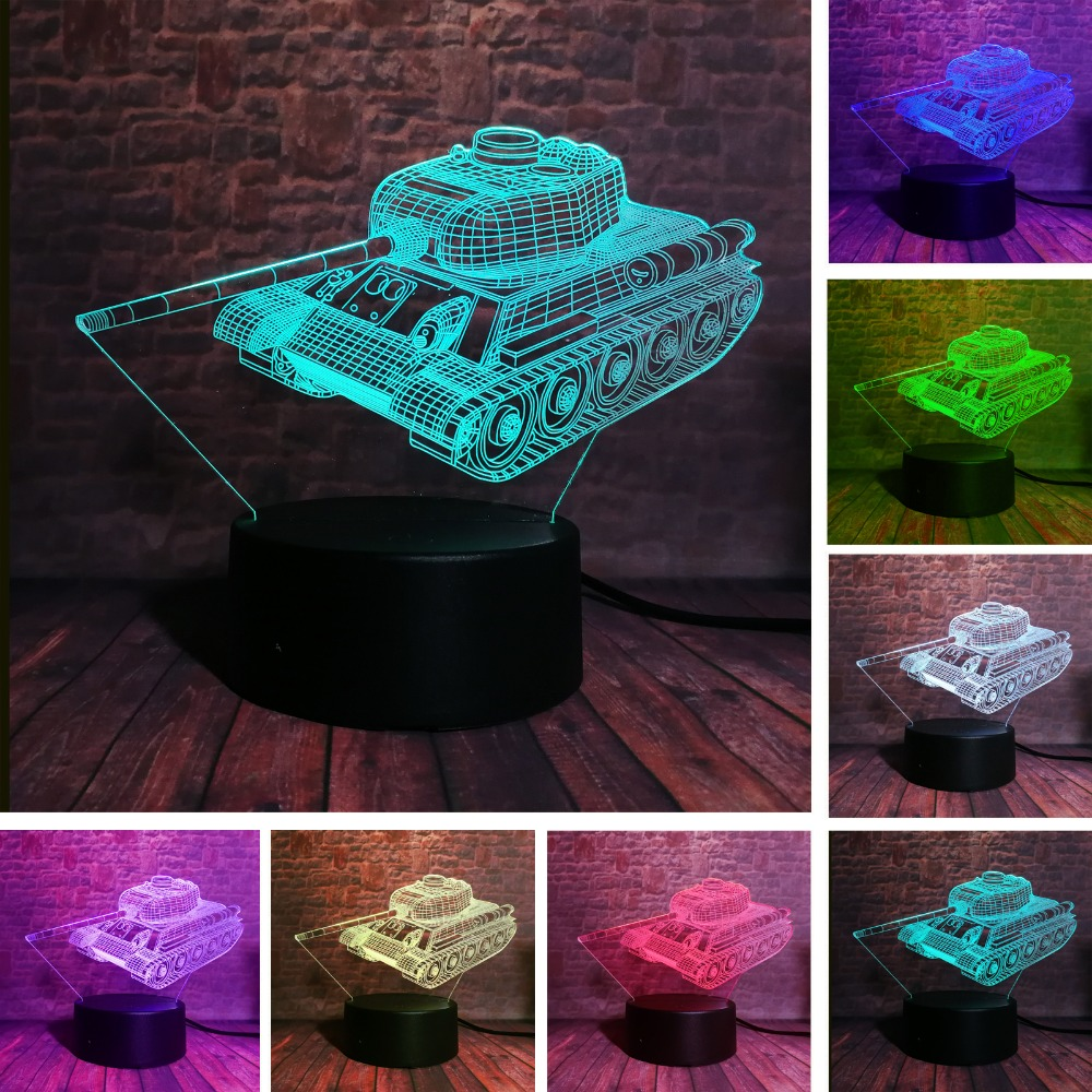 Creative 3D Cool Military Machine Tanks Night Light USB Touch 7 Color Change LED Table Visual Home Decor Lamp Kids Xmas Toy GiftCreative 3D Cool Military Machine Tanks Night Light USB Touch 7 Color Change LED Table Visual Home Decor Lamp Kids Xmas Toy Gift