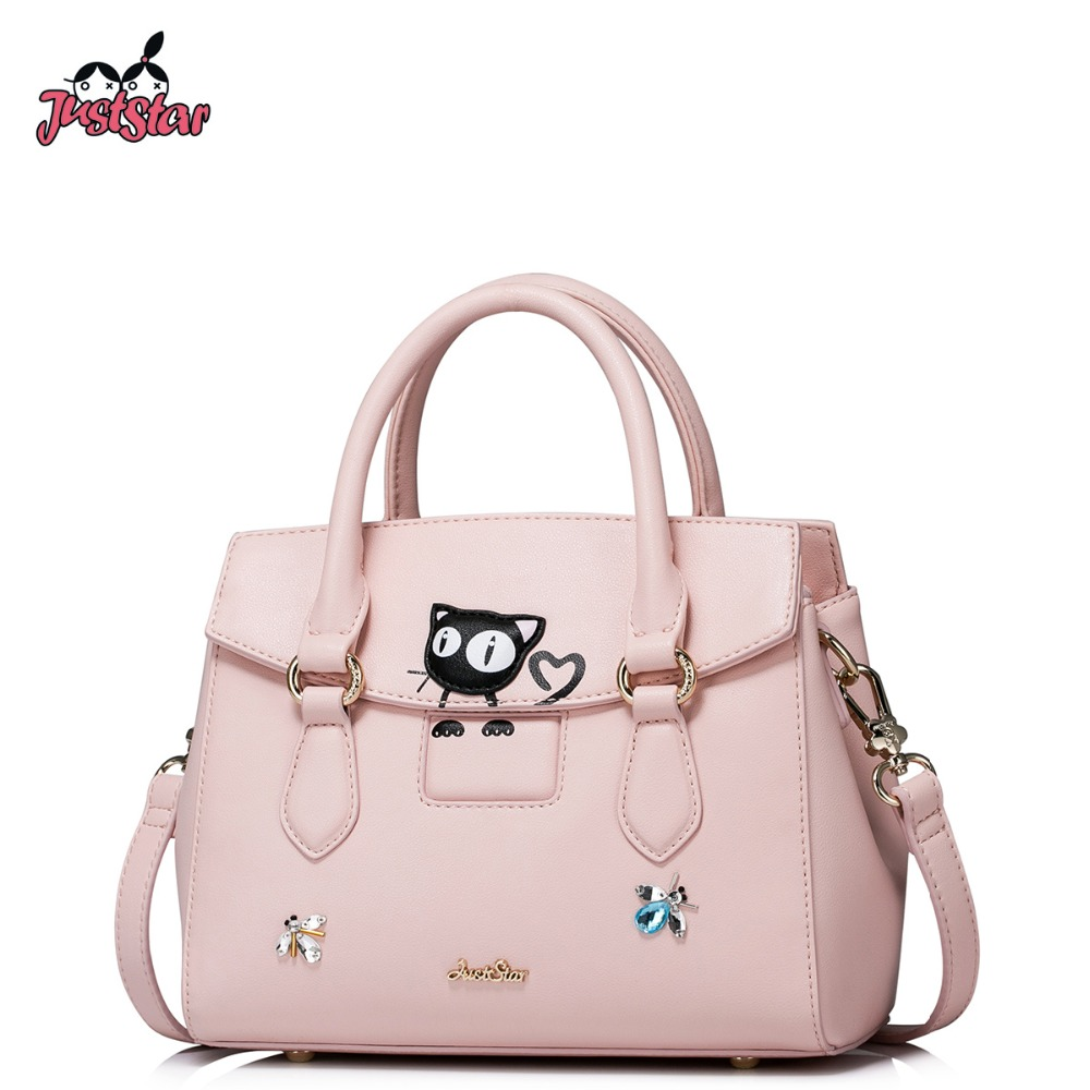 ФОТО JUST STAR Women's PU Leather Handbags Ladies Fashion Cute Cat Tote Bags Female Spring Messenger Bags Brand High Quality JZ4288