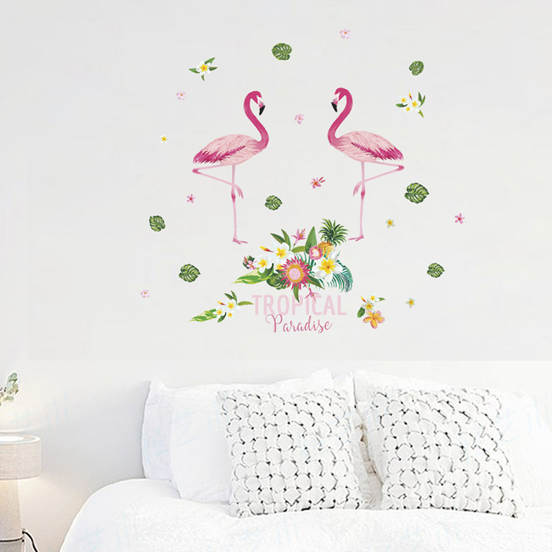 Flamingo With Flower Wall Stickers For Office Living Room
