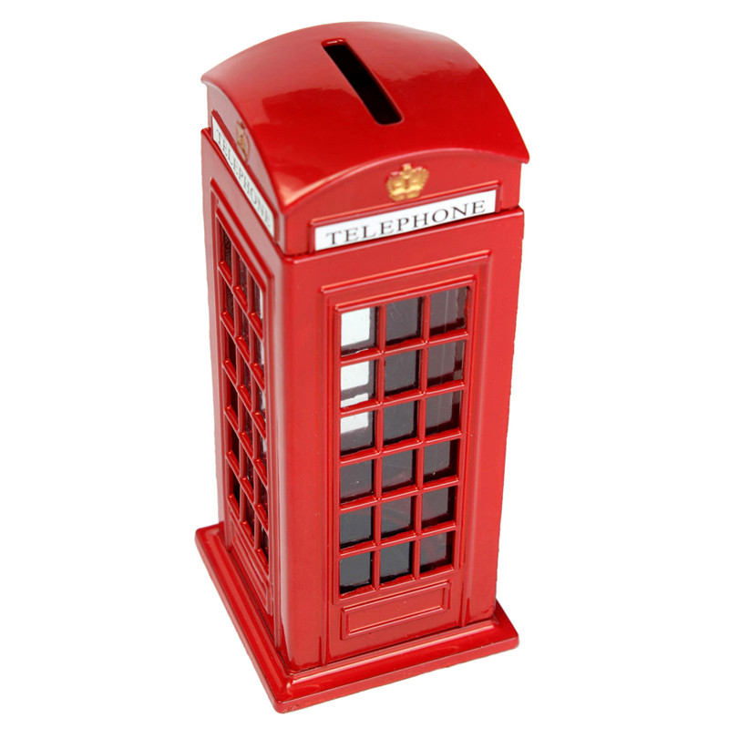 Buy metal red british english london for How to open a tin piggy bank