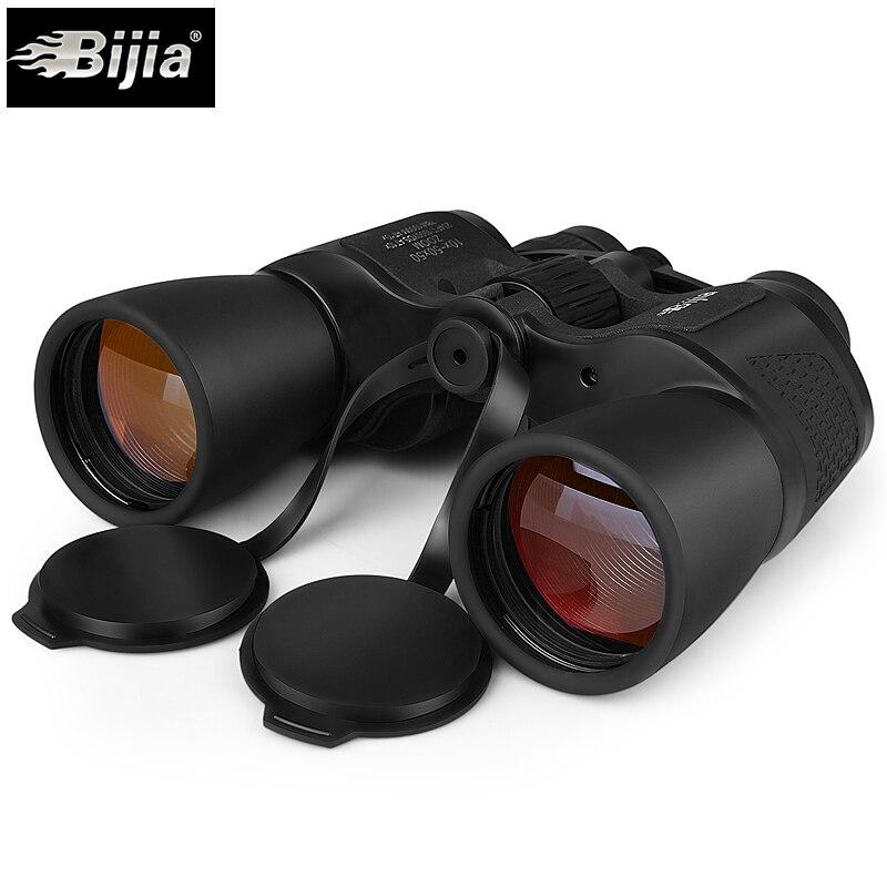 ebfa51d0ac BIJIA binóculos 10-50x50 zoom revestimento âmbar spyglass telescópio grande  angular para a caça de acampamento