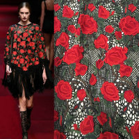 2019 new red flower print sequins mesh clothing fabric spring and summer dress handmade DIY polyester fashion cloth