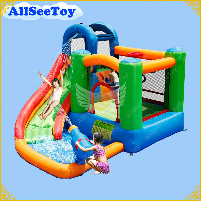 family use inflatable bouncy calstle combo water slidebounce house include water gunjumping castle with air blower - Water Slide Bounce House