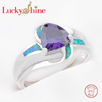 Luckyshine Unique Fire Amethyst Opal Gems 925 Sterling Silver Rings For Family Friend Russia USA Australia