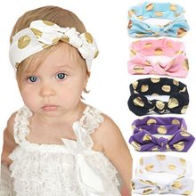 Gold Polka Dots Baby Headband Girls Top Knotted Hair Bows Rabbit Ear Turban Head Wraps Hair Band Accessories HB059S(China)