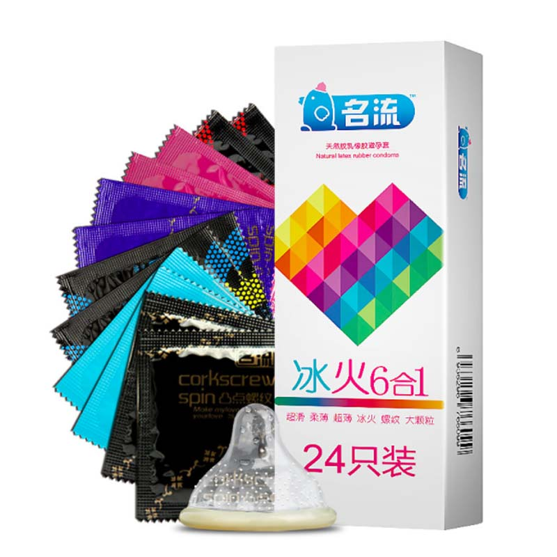 Mix Style Six In Sex 24PCS Amazing Condoms Value High Quality Condoms For Men Thin Horny Women Adult Sex Toy Safer CONTRACEPTION