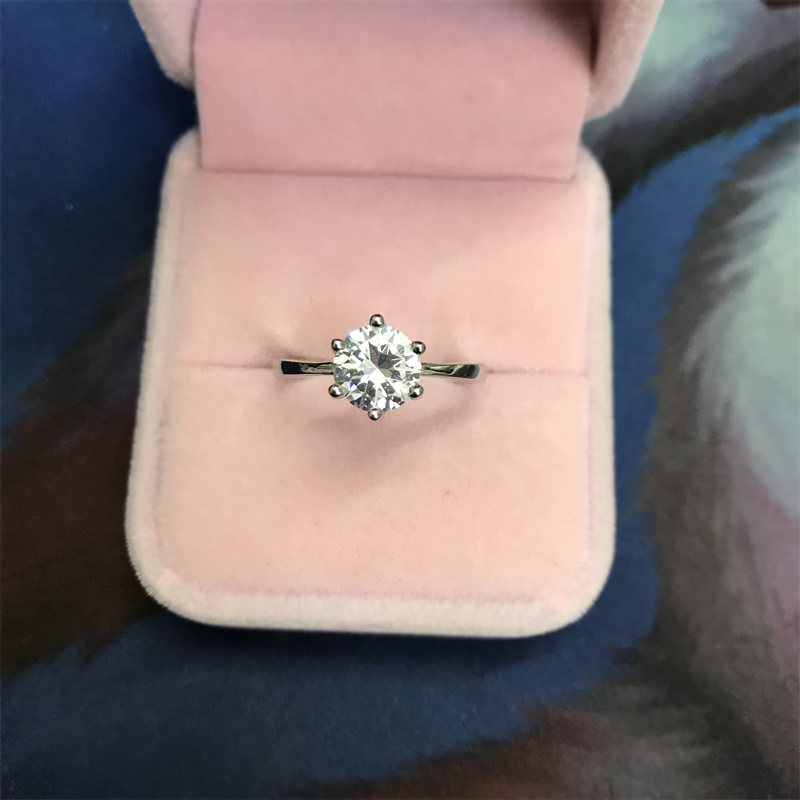Lose Money Sale! Fine Jewelry Real Natural 925 Silver Wedding Rings Solitaire 8mm 2Ct CZ Zircon Engagement Rings for Women RB925