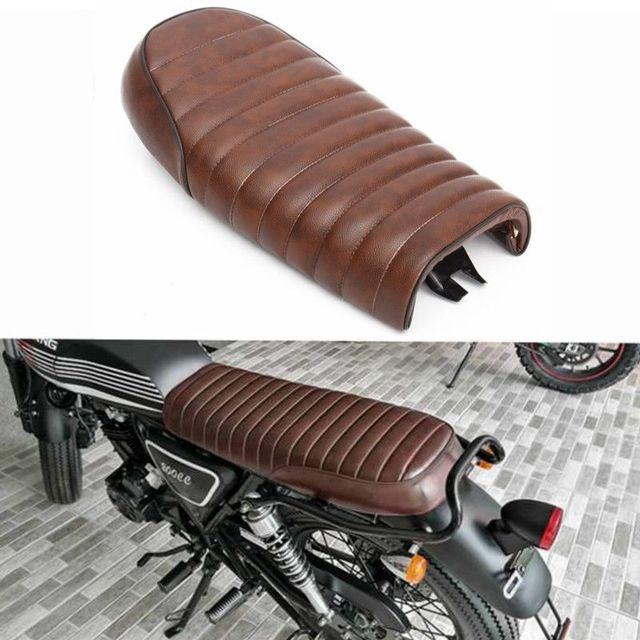 Motorcycle Brown Flat Brat Universal Seat Cafe Racer