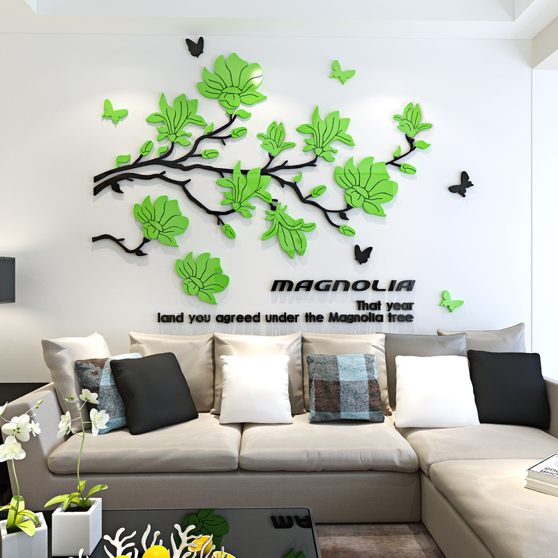 Creative flowers 3d acrylic wall stickers living room wall decoration painting self paste