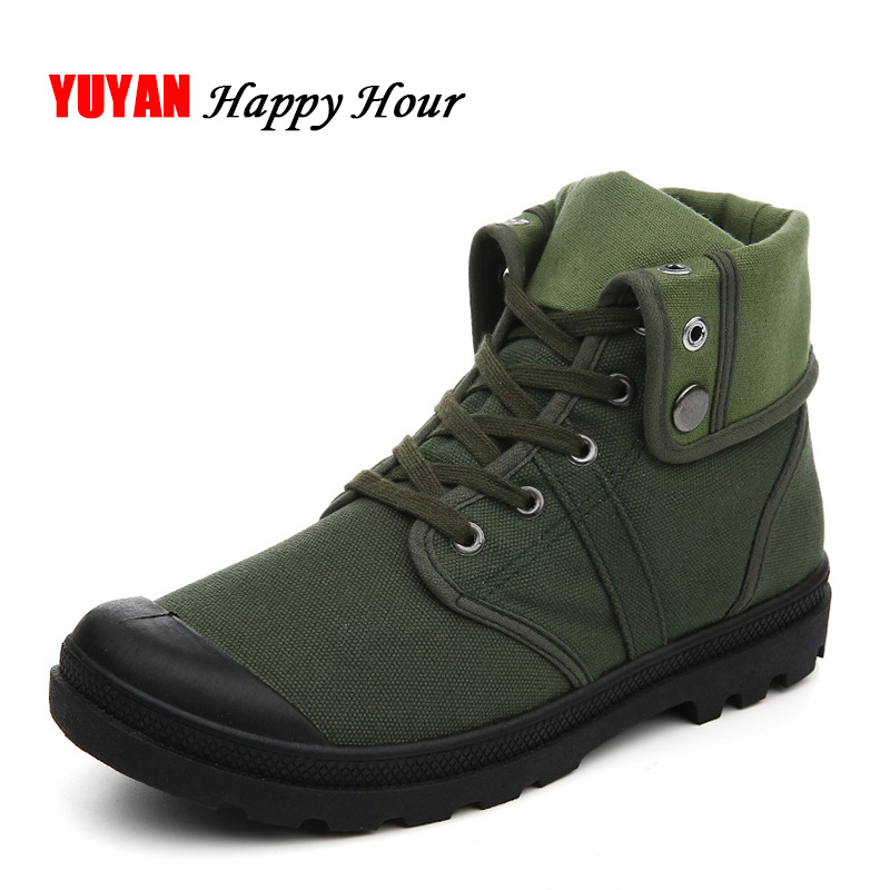 New Spring Autumn Shoes Men Boots Canvas Shoes Breathable High Top Mens Boots Male Brand Ankle Botas Army Green ZH2225
