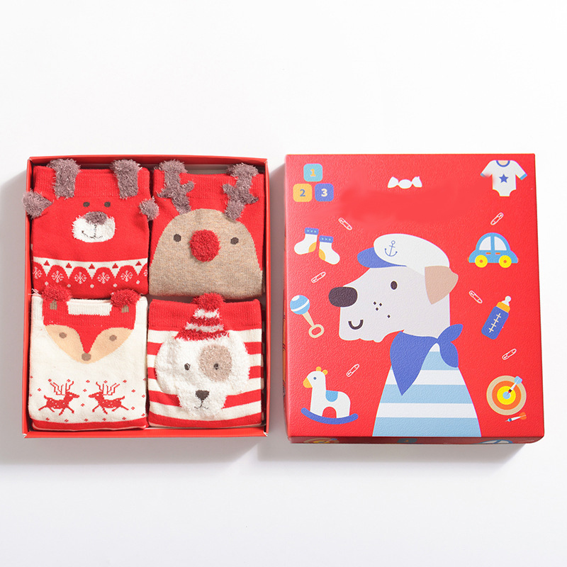 PEONFLY Snow Christmas Women Cotton Funny Novelty Happy Socks Women Kawaii Hosiery Autumn Winter 4PAIRS/LOT Dog Fox Dear