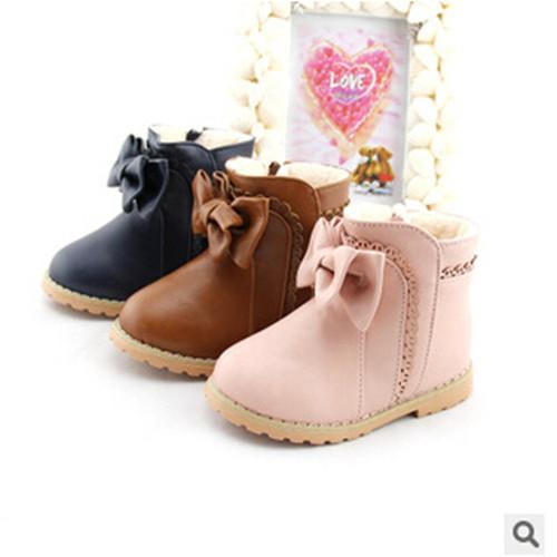 Nuevos 2016 botas de nieve botas zapatos de bebé de los niños zapatos de invierno zapatos para niñas Envío Libre Del Bowknot Con cremallera Lateral de terciopelo 1-807