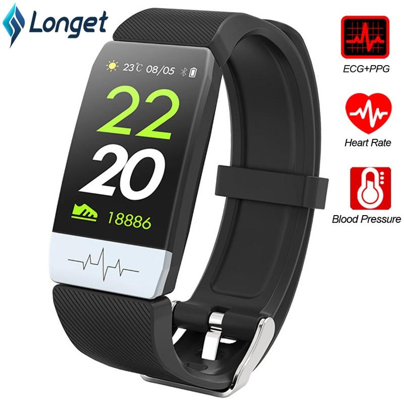 Longet Q1S Inteligente Pulseira Sono Monitor de ECG + PPG Rastreador De Fitness Banda de Pressão Arterial Inteligente À Prova D' Água Relógio de Tempo para o Esporte