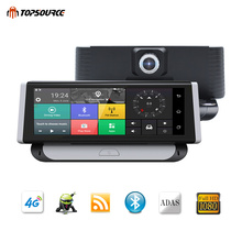 TOPSOURCE Car DVR 4G ADAS Full HD 1080P DVR 7.84 Android 5.1 Video Recorder Dual Lens Bluetooth Camera GPS Navigation 1GB 16GB e ace 4g car dvr camera adas android autoregister with gps navigation full hd 1080p video recorder two cameras vehicele blackbox