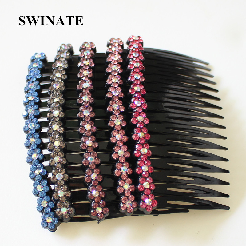 Կանայք Shining Rhinestones Crystal Flower Hair Comb Multi-color Little Cute Floral Hair Hair Comb Մազերի պարագաներ Գլխի նվեր