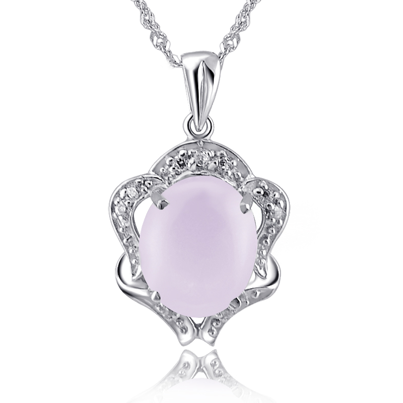Natural Rose Quartz 4 Carats Pendant Necklace 925 Sterling Silver Woman Fine Elegant Gem Jewel Girl Pink Crystal Valentine Gift