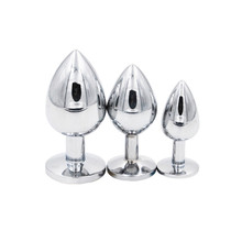 3pcs/set Small+Middle+Big Sizes Stainless Steel Metal Anal Plug With Diamonds Anal Dildo balls Sex Toys Butt Plug For Women+men