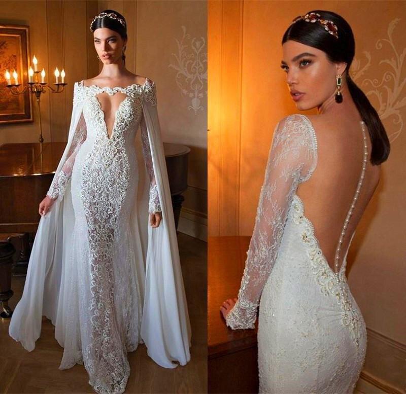 Robe De Mariee dentelle robes De mariée 2019 avec Cape sirène col en V perles manches longues Robe De mariée Robe De mariée Vestido De Novias