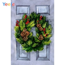 Yeele Christmas Photographic Backgrounds Pine Branch Cone Retro Door Photography Backdrops Personalized For Photo Studio