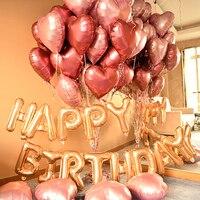 Юбилей баллон день рождения украшения для взрослых вино красный розовый металлик сердце фольги воздушный шар комплект из розового золота с...