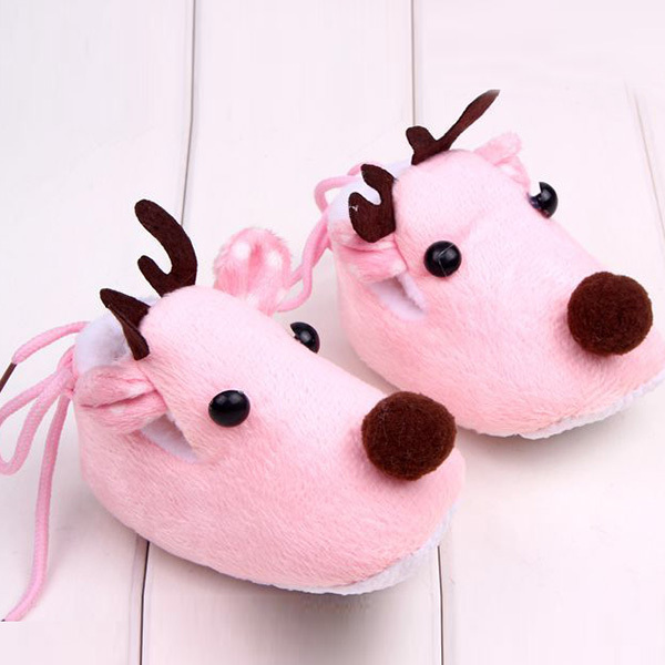 Lovely Winter Xmas Elk Deer Style Baby Girl Boys Crib Shoes Plush Fleece Shoes Free Shipping