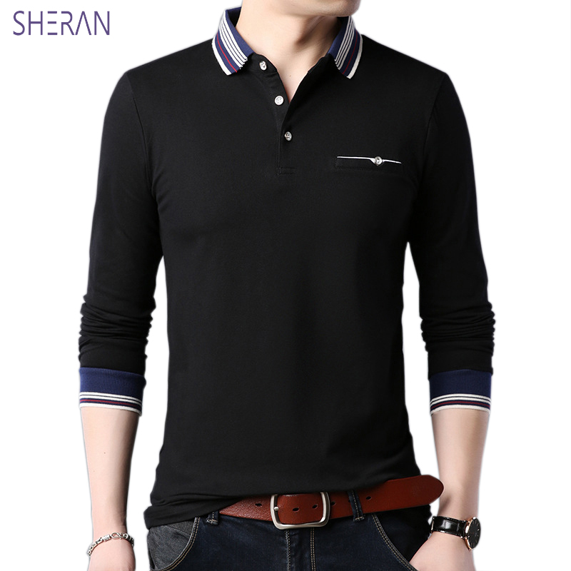 High Quality Men   Polo   Shirt Mens long Sleeve Solid   Polo   Shirts Camisa   Polos   Masculina 2018 Casual cotton Plus size M-5XL Tops