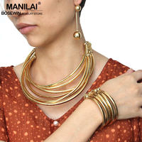 MANILAI Indian Biżuteria Dla Nowożeńców Ustawia Nowy 2016 Kobiety Moda Stopu Rury Moment Choker Charm Naszyjniki Bransoletka Kolczyki Zestaw CE4242