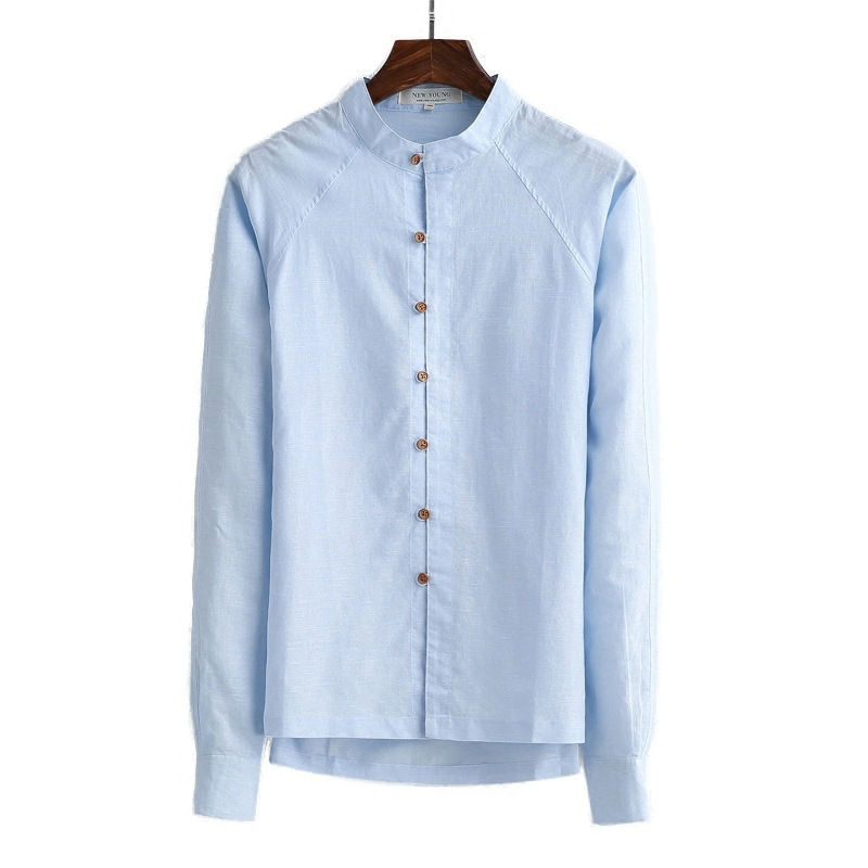 Linen Shirts Men Chinese Style Collar Long Sleeve