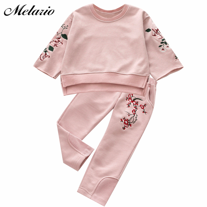 Melario Girls Clothing Sets 2017 Active Suits Girls Clothes Long Sleeve Sweatshirts+Pants Kids Clothing Sets 3-7Y Children Suits