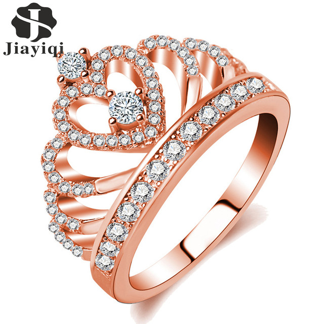 Jiayiqi 2018 Princess Style Cubic Zirconia Hollow Heart Silver/Rose Gold Color Crown Ring Jewelry Engagement Wedding Party 2