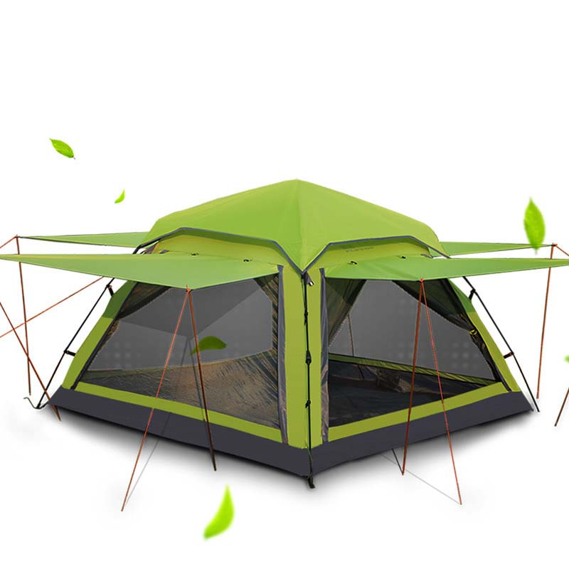 Flytop 3-4 person outdoor tent large capacity camping hiking waterproof tents Ultralight outdoor travel tents 4 doors breathable 995g camping inner tent ultralight 3 4 person outdoor 20d nylon sides silicon coating rodless pyramid large tent campin 3 season