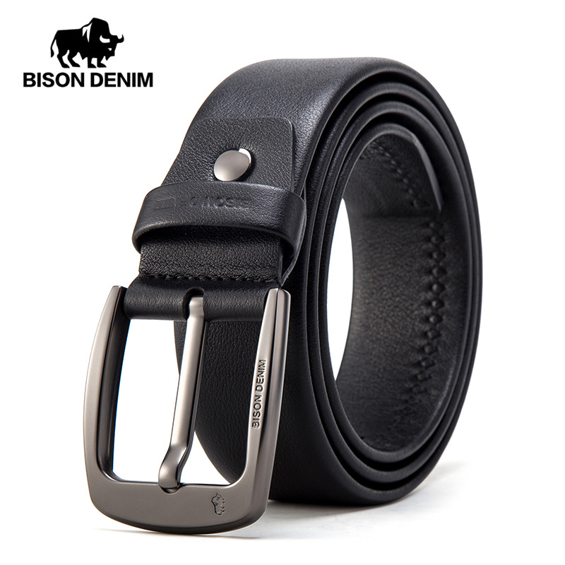 BISON DENIM Genuine Leather Men Belt High Quality Luxury Strap Classic Vintage Pin Buckle Male Belt Jeans Belt For Men N71494
