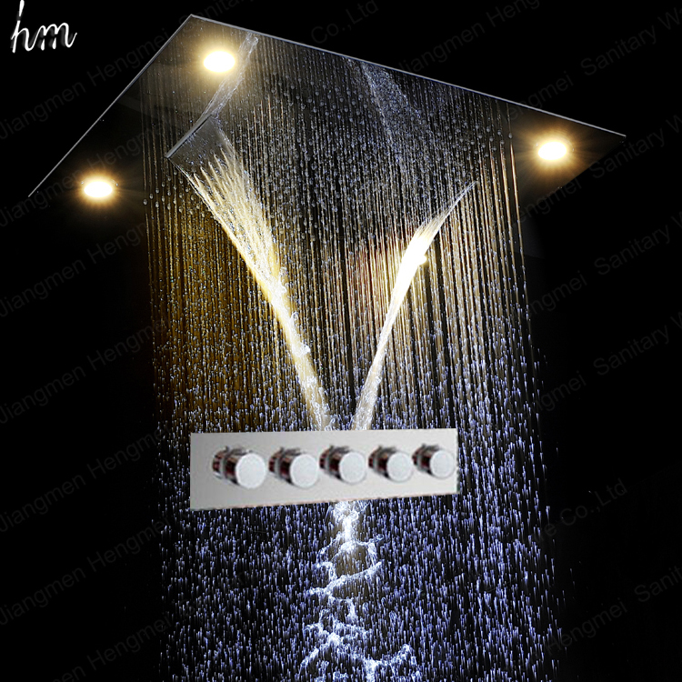 5 Function Hot Cold Bath Shower Faucet Wall Shower Mixer Set With LED Shower Head Rainfall,Curtain,Misty,Waterfall