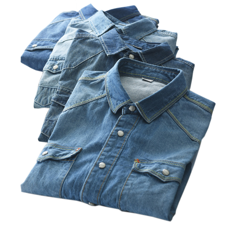 ARCSINX Jeans Men's Shirt With Long Sleeve Blue Vintage Denim Shirt Men Spring Casual Male Shirts Autumn Slim Fit Chemise Homme