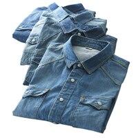 ARCSINX Jeans Men's Shirt With Long Sleeve Blue Vintage Denim Shirt Men Spring Casual Male Shirts Autumn Slim Fit Chemise Homme
